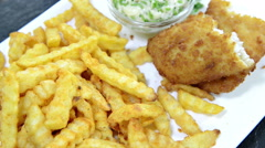Fish with french fries (loopable) Stock Footage