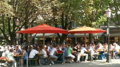 Beer Garden in Open Air Market Viktualienmarkt Munich Germany Europe Stock Footage
