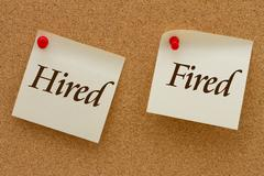 Hired versus fired Stock Illustration