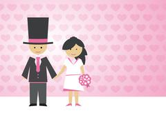 groom and bride with a bouquet on love background - stock illustration