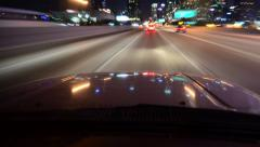 4K Driving Hyperlapse 51 Reflections LA Downtown 10 Freeway Stock Footage