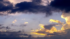Sunset. The sky was covered with black clouds. Time lapse clouds. Stock Footage