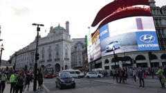 Piccadilly Circus Advertisement 2014 Boards with bus driving by - stock footage