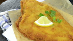 Fried plaice (loopable video) Stock Footage