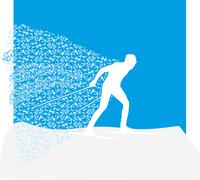 vector illustration of a colorful skier - stock illustration