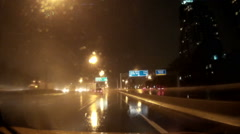 POV driving on the highway at night in heavy rain and thunderstorm  storm - stock footage