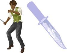 Stock Illustration of Afroamerican brawling man cartoon character