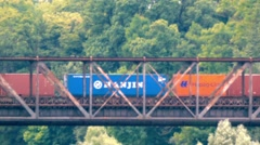Time Lapse Nostalgic Freight Train transporting Cargo Container old metal bridge Stock Footage