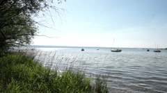 Lake scenic, Lake Ammersee in bavaria, germany in summer - stock footage