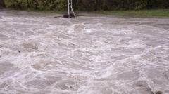 Flood on the river. Floats branch. Stage Stock Footage