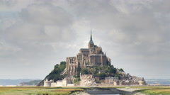 4k mont saint michel france tourist cathedral timelapse Stock Footage