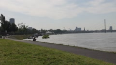 River Rhine on Dusseldorf background Stock Footage