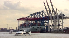 Container Terminal Hamburg Tollerort seen from the water Stock Footage