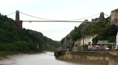 Clifton Suspension Bridge. Bristol. View from river - stock footage