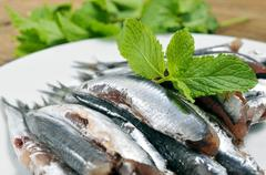 raw spanish boquerones, anchovies typical in spain - stock photo