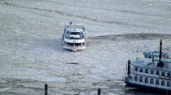 Ship approaching dock on icy Elbe Stock Footage
