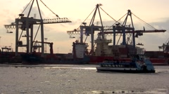 Ship on icy Elbe in front of docks, Hamburg Stock Footage