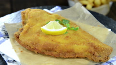 Fried plaice (not loopable) Stock Footage