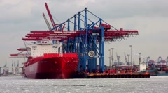 Container Terminal Hamburg Burchardkai seen from the water 2 Stock Footage