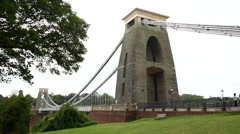Clifton Suspension Bridge. Bristol. Wide shot - stock footage