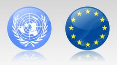eu and un flags - stock illustration
