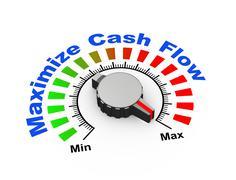 3d knob - maximize cash flow Stock Illustration