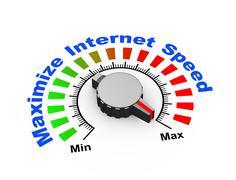 3d knob - maximize internet speed - stock illustration