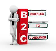 3d businessman with b2c signpost illustration - stock illustration