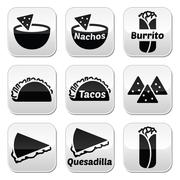 Mexican food buttons - tacos, nachos, burrito, quesadilla - stock illustration