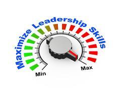 3d knob - maximize leadership skills - stock illustration