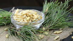 Portion of pine nuts (loopable) Stock Footage