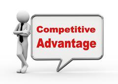 3d businessman with speech bubble - competitive advantage Stock Illustration