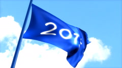 Flag 2015 waving blue sky, day time. Stock Footage