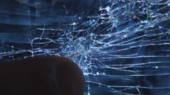 extreme close up of destroyed lcd tv screen 2 - stock footage
