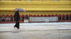 Shwemawdaw Paya Pagoda at raining time in Bago, Myanmar Stock Footage