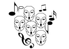 choir singing - stock illustration