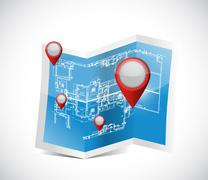 Locator pointers blueprint illustration design Stock Illustration