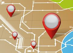 Map and locator pointers illustration Stock Illustration