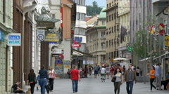 LJUBLJANA, SLOVENIA - JULY 2014: Čop street is a major pedestrian thoroughfare - stock footage