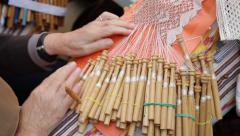 bobbin lace handmade - stock footage
