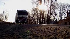 Two Trucks rode very close to camera HD Stock Footage