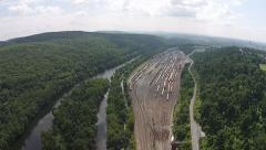 Rail Yard and River Stock Footage