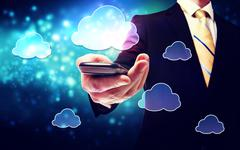 smart phone cloud connectivity service them with business man - stock photo