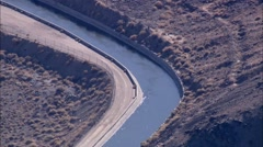 Desert River Mountain Aqueduct Stock Footage
