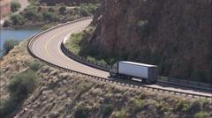 Arizona Mountains Trailer Truck Stock Footage