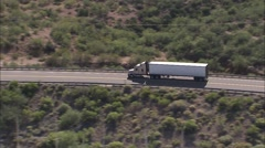 Arizona Mountains Trailer Truck Stock Footage