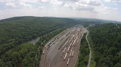 View of rail yard and river Stock Footage