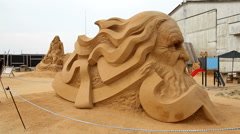 Amazing sandsculpture Stock Footage