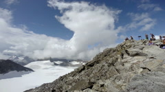 Summit of Galdhøpiggen highest mountain top in Scandinavia 8,100 ft - stock footage