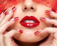 acrylic nails manicure - stock photo
